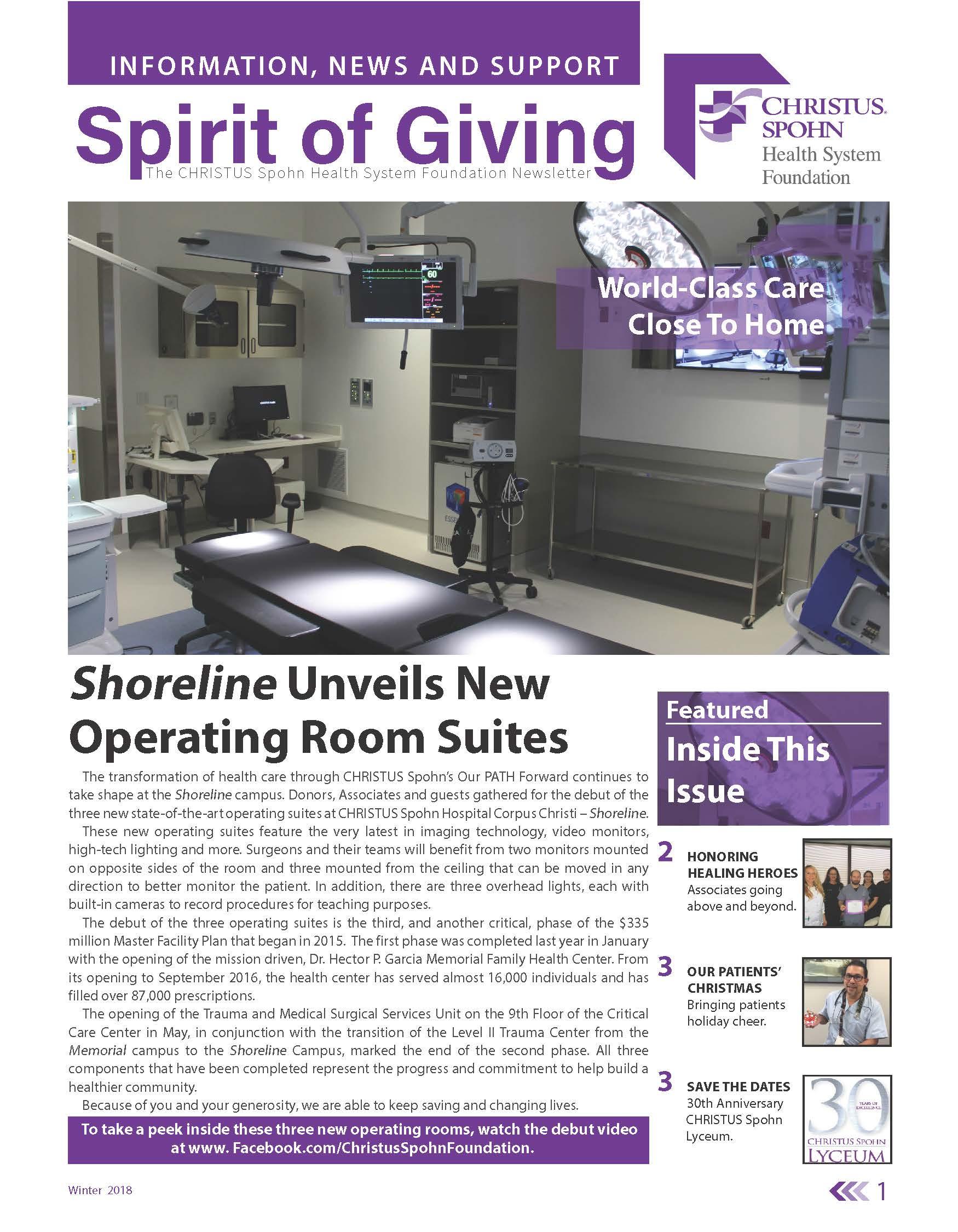 Newsletter Cover Winter 2018